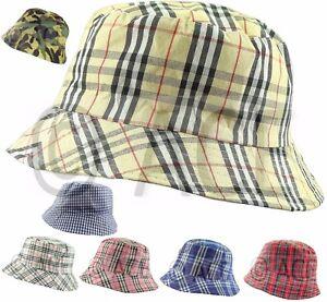 Image is loading Unisex-Designer-Tartan-BUCKET-HATS -Camping-Fishing-Showerproof- df72933411d