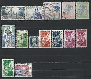 Monaco-Lot-14-timbres-PA-et-Preo-Obl-FU-1948-69-lot-IX