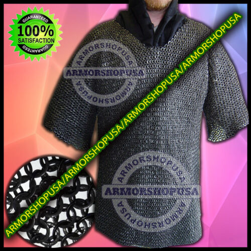 Hood Blackend Flat Riveted Flat Washer Chain Mail Shirt w// Free Chainmail Coif