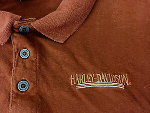 Harley-Davidson-Polo-Shirt-Herren-L-kurze-Armel-Rost-braun-bestickt-Wi-Dealer