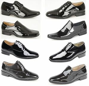 Mens-Black-Lace-Up-Leather-Lined-Patent-Dress-Wedding-Shoes-Formal-Fashion-New