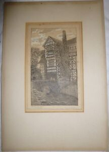 Antique-engraving-etching-MORTON-OLD-HALL-CHESHIRE-Signed-Art-Print-Architect