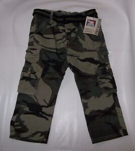 19fe15c26a WRANGLER TODDLER BOY PREMIUM BELTED CAMO CARGO PANTS TROUSERS (green ...