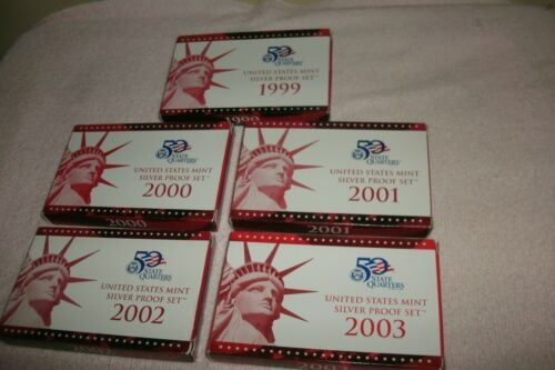 1999-2000-2001-2002-2003 Red Boxes /& COA/'s .NO COINS Silver Partial Proof Set