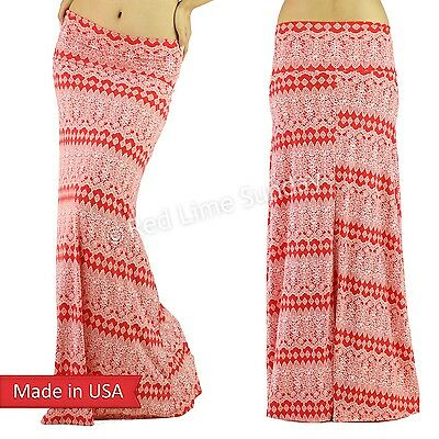 New Coral Red Baroque Ethnic Print Fold Over Wide Waistband Long Maxi Skirt USA