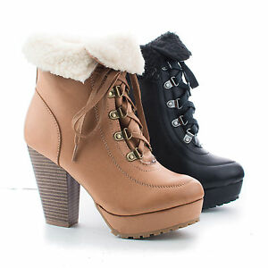Faux Shearling Folded Ankle Cuff Lace Up Stacked Heel Booties