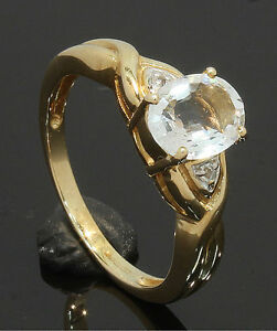 9-Carat-Yellow-Gold-Single-039-Aqua-Hint-039-Oval-Stone-Ring-Size-N-80-17-233