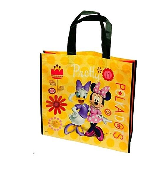 Disney Minnie Mouse Daisy Duck Yellow Tote Shopping Bag School Work Beach