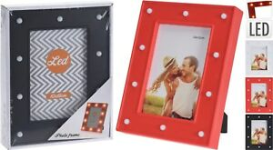 """LED Light Up Photo Frame 4""""x6"""" 8""""x10"""" Hanging/Standing Picture Frame 3 Colours"""