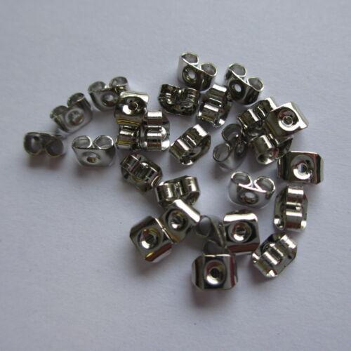 100//200pcs Sterling Silver Plated Butterfly Earring Backs Scrolls Push Fit 6x4mm