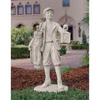 Nostalgic Golf Caddie Garden Statue Caddy Boy Home Sculpture
