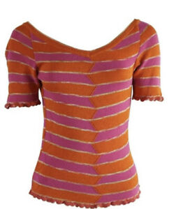 Missoni-Orange-And-Pink-Stripe-Knitted-Top-with-Scallop-Edging-Size-40-Xs