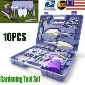 10pcs Heavy Duty Garden Tools Set Hand Planting Gardening Kit Shovel Rake Shears