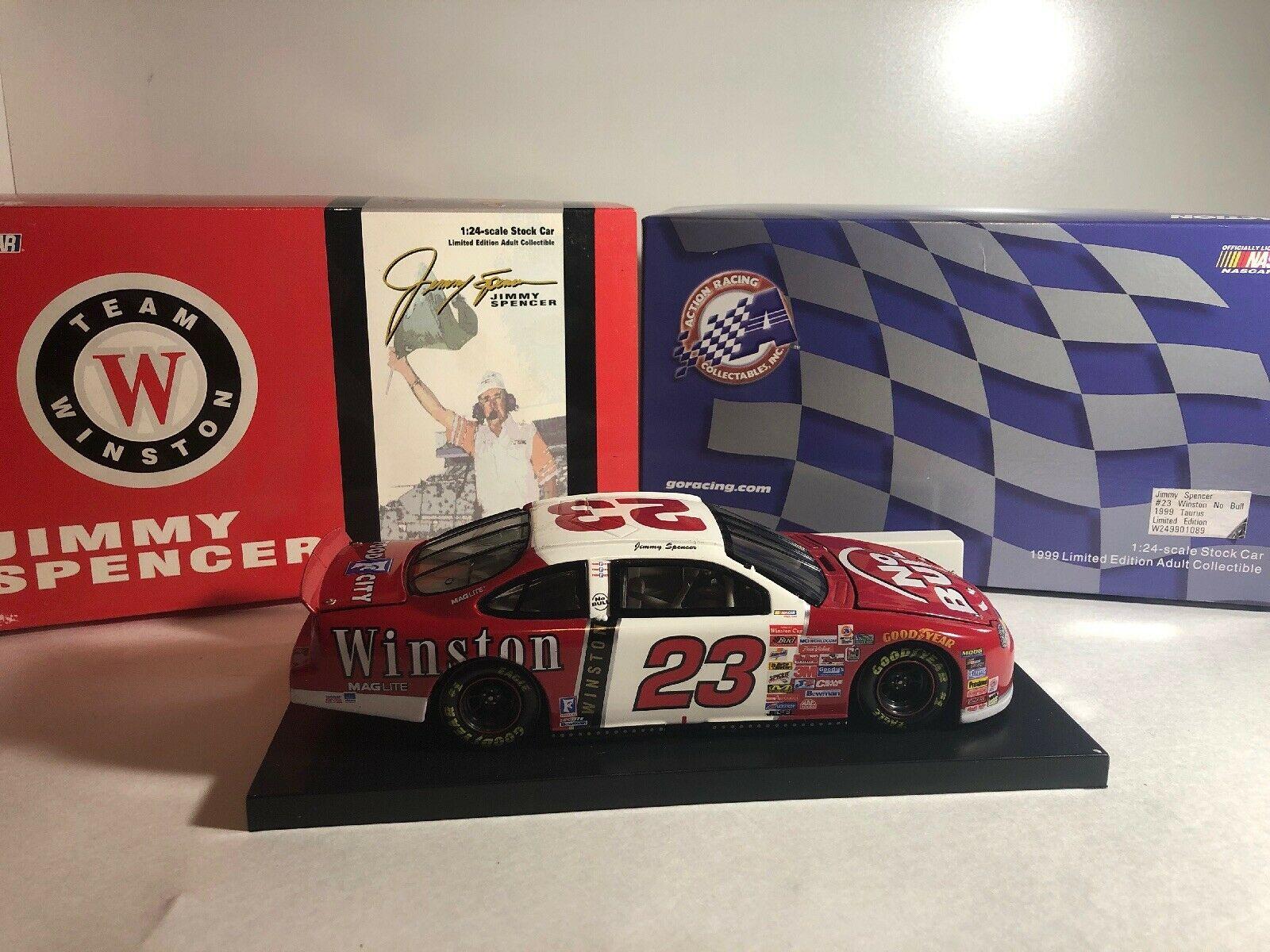 New 1999 Action 1 24 Diecast NASCAR Jimmy Spencer Winston No Bull Red Taurus