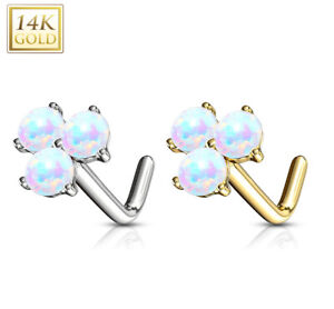 PRONG SET SYNTHETIC-OPAL NOSE RING STUD 14KT WHITE GOLD PIERCING 20G L-SHAPE