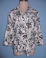Carole Little Front Tie & Button 3/4 Sleeve Print Blouse Size L ( 12 -14 )