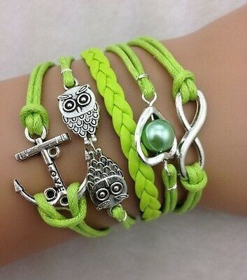 NEW Infinity Owl Heart Anchor Pearl Leather Charm Bracelet plated Silver DIY