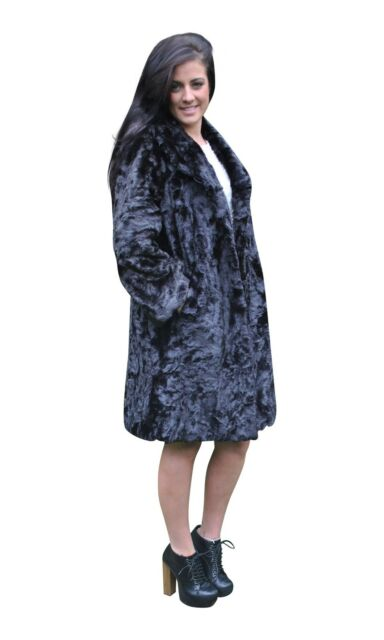 40's 50's Vintage Style Classic Roll Neck Faux Fur Coat Glossy Black New Size 10