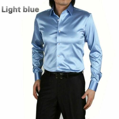 Mens Satin Silk Dress Shirt Long Sleeve Slim Business Formal Casual Tops Classic