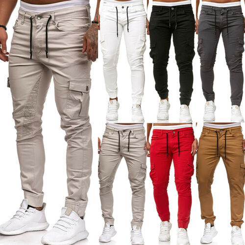 Mens Gym Jogger Combat Work Military Trousers Long Cargo Casual Bottoms Pants