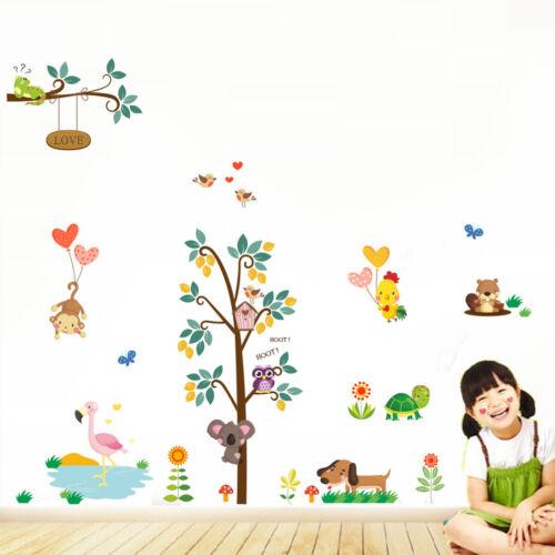 owl animal wall stickers jungle zoo tree nursery baby kids room decals mural~ NF