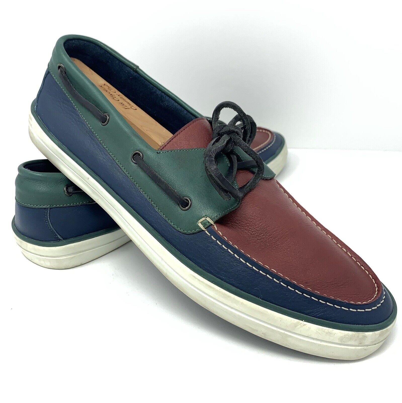 Burberry Leather Slip On Lace Up Boat shoes Multi color Size 12 (45)