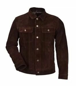 Men-039-s-BROWN-SUEDE-TRUCKER-1280-Classic-FITTING-Cowhide-Western-Leather-Jacket