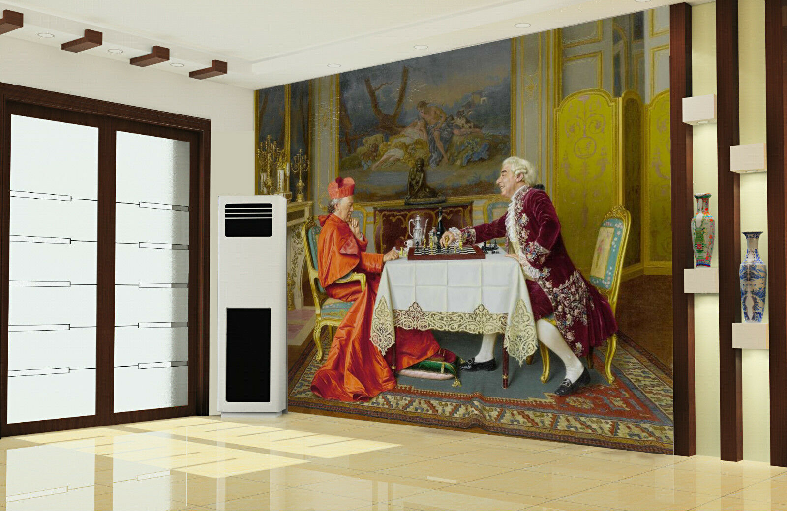 3D Two Men Chat Painting 0124 Wall Paper Wall Print Decal Wall AJ WALLPAPER CA