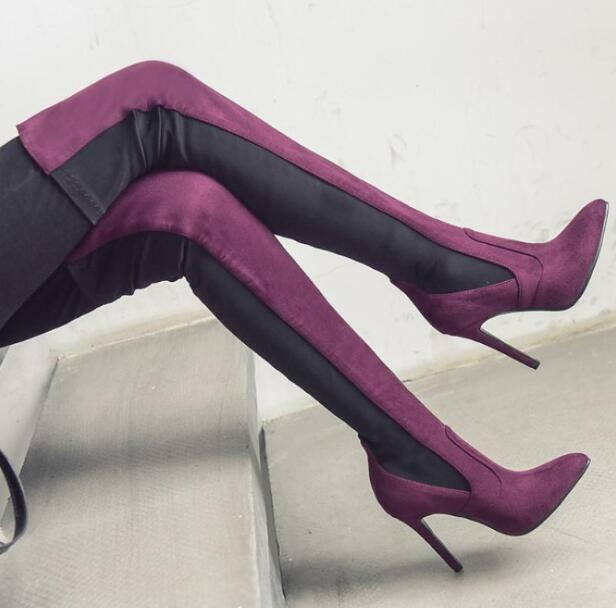 Donna Knee Mixed Colors Suede Pointed Toe Over Knee Donna Riding Stivali Heels Stilettos New 1c3152