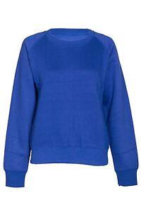Womens Plain Sweatshirt  Soft Crew Neck Fleece Pullover Top Ladies New Jumper