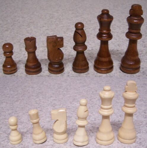 "Chess Game Pieces beginners teaching or vacation set boxwood NEW 3 1//2/"" kings"