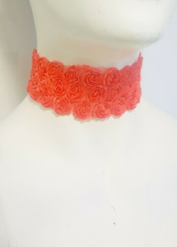 chic retro bridal wedding party women 50mm 3D rose lace collar choker necklace