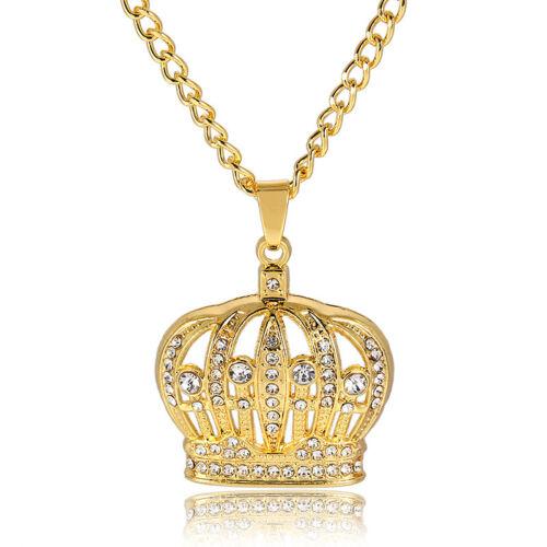 1Pc Hommes Hip-hop or Cristal Couronne Forme Pendentif Chaîne Collier Bijoux Cadeau