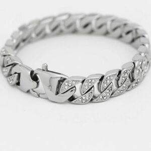 DG-Men-039-s-8-5-034-Silver-Stainless-Steel-ICED-OUT-CZ-13mm-Miami-Cuban-Bracelet-BOX