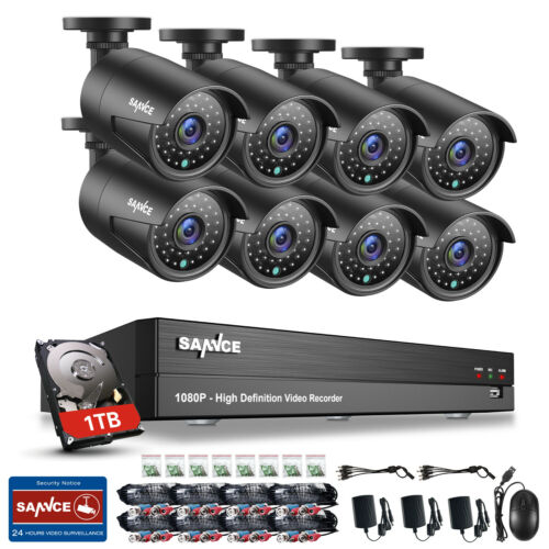 SANNCE Full 1080P HD Video 5in1 8CH Security DVR In// Outdoor CCTV Camera System
