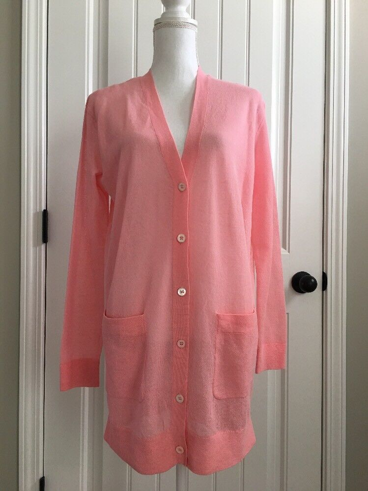 New J Crew Collection Cardigan Sweater in Gauzy Cotton Pink Pink Pink Sz S F2051 e36072