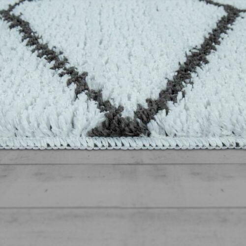 Kurzflor-Teppich Für Badezimmer Mit Rauten-Muster In Anthrazit Weiß Badematte
