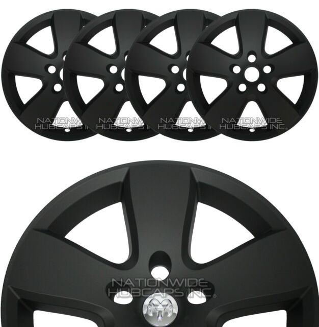 "4 Flat Black 09-2012 Dodge Ram 1500 20"" Wheel Skins Hub Caps 5 Spoke Rim Covers"