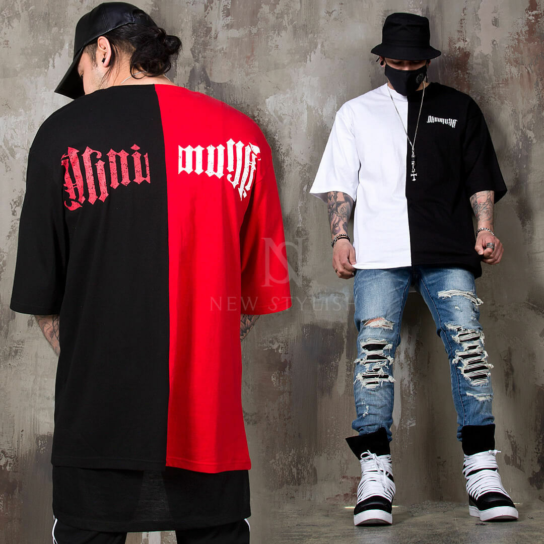 NewStylish Mens Casual Fashion Tee Top Lettering Accent Half Contrast T-shirts