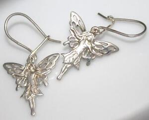 LOVELY 925 SILVER DROP DANGLING FAIRY TAIL EARRINGS  / W 941
