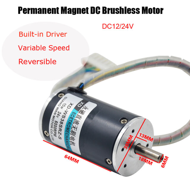 12v DC Electric Motor Permanent Manget Brushless Variable Speed Built-in  Driver 3000rpm