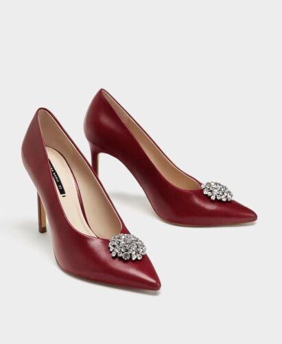 rosso con con 42 in pelle Burgundy scuro Scarpe Zara Eu tacco alto 9 Uk abbellimento A0BnqW