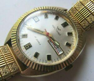 Vintage-1960s-Men-039-s-WALTHAM-17-Jewels-WRIST-WATCH-Stainless-Steel-DATE-Gold-Tone