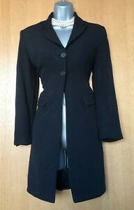 Karen-Millen-UK-12-Black-Collared-Formal-Office-Work-Long-Blazer-Jacket-EU-40