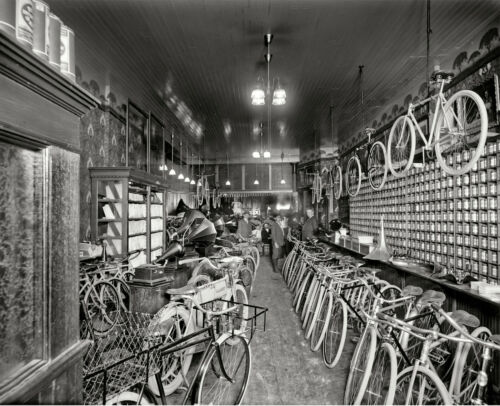 """cycle Bike Store DETROIT 1912 Bicycle Shop Photo 14/""""x11/"""" Print"""