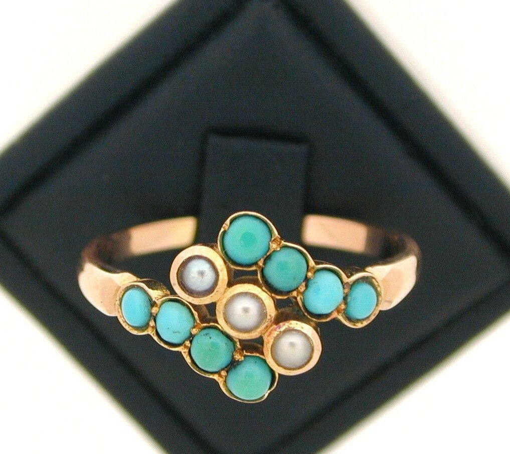 Antique Victorian 15ct pink gold Turquoise and Pearl Ring size Q 3 4