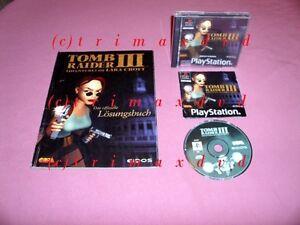 PS1-Tomb-Raider-III-amp-Offizielles-Loesungsbuch-Erstausgabe-guter-Zustand