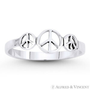 Peace-Sign-3-Charm-Hippie-Symbol-925-Sterling-Silver-Stackable-Right-Hand-Ring