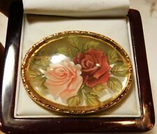 British Vintage Intaglio Crystal Glass Reverse Painted Roses Flowers Brooch