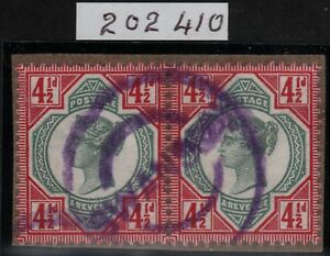 1892-JUBILEE-SG206-41-2d-DEEP-GREEN-AND-DEEP-CARMINE-USED-PAIR-RPS-CERTIFICATE